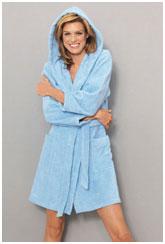 d0d0dad7f9ce5 Голубой махровый халат с капюшоном