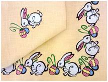 Пасхальная скатерть Кролики, лен желтый
