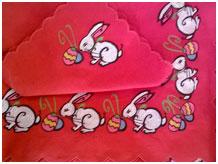 Пасхальная скатерть Кролики, лен красный