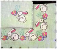 Пасхальная скатерть Кролики, лен зеленый