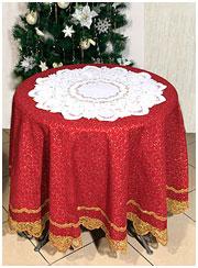 Круглая льняная скатерть Новогодняя с веницианскими кружевами