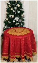 Праздничная скатерть Новогодняя и столешник кружевной