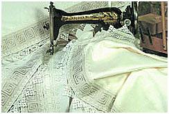 Пошив скатерти с кружевом