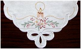 Сет (дорожка, перекидка) с вышивкой Рождественский венок