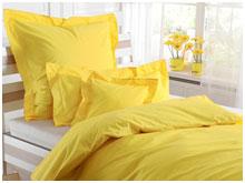 Однотонное  постельное белье, сатин цвет желтый