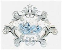 Панно Зима - вышивка с элементами игольного кружева